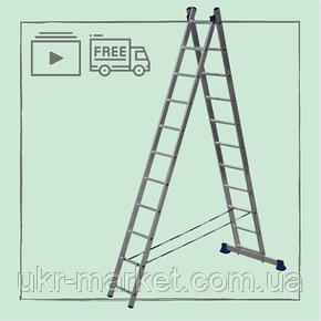 Лестница алюминиевая двухсекционная универсальная 2 х 11 ступеней, фото 2