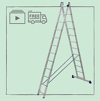 Лестница алюминиевая двухсекционная универсальная 2 х 12 ступеней