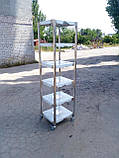 Стелаж виробничий 2000х500х1800 5 полиць із 201 нержавіючої сталі, фото 10