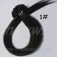 Волосы натуральные на кератиновых капсулах, оттенок №1. 60 см 100 капсул 80 грамм