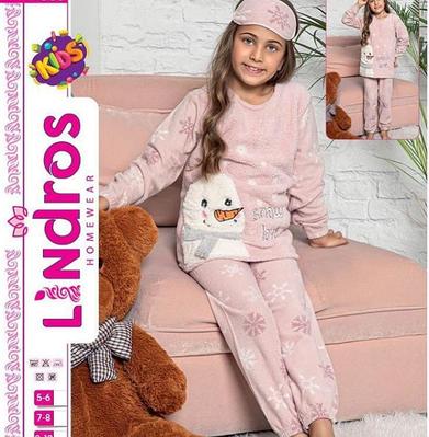 Детская пижама для девочки флисовая с длинным рукавом и принтом снеговичок Lindros Турция Kira pink