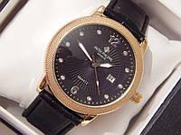 Мужские кварцевые наручные часы Patek Philippe на кожаном ремешке с датой, фото 1