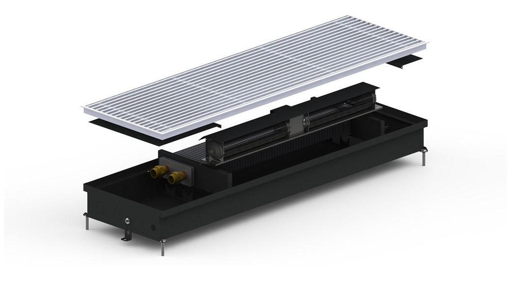 Внутрипольный конвектор Carrera  SV Black (SV Inox) 300 мм с принудительной конвекцией