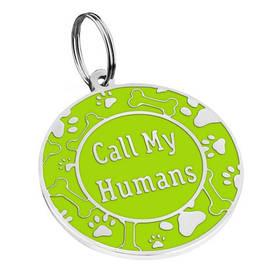 Адресник емальований Call My Humans салатовий, діаметр 2,5 см або 3,2 см (гравірування під замовлення 3-7 днів)