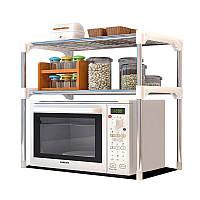 Настільний стелаж кухонний під мікрохвильовку з полицями для посуду і спецій, підставка для мікрохвильовки