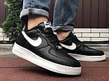 Зимові чоловічі кросівки Nike Air Force,чорно білі,на хутрі, фото 2