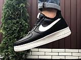 Зимові чоловічі кросівки Nike Air Force,чорно білі,на хутрі, фото 4