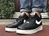 Зимові чоловічі кросівки Nike Air Force,чорно білі,на хутрі, фото 5