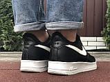 Зимові чоловічі кросівки Nike Air Force,чорно білі,на хутрі, фото 6