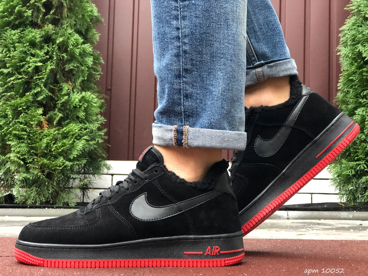 Зимние мужские кроссовки Nike Air Force,черные с красным,на меху