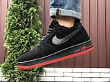 Зимние мужские кроссовки Nike Air Force,черные с красным,на меху, фото 2