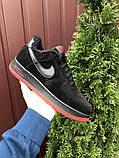 Зимние мужские кроссовки Nike Air Force,черные с красным,на меху, фото 3