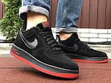Зимние мужские кроссовки Nike Air Force,черные с красным,на меху, фото 4