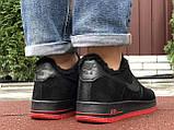 Зимние мужские кроссовки Nike Air Force,черные с красным,на меху, фото 6