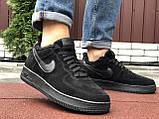 Зимові чоловічі кросівки Nike Air Force,чорні,на хутрі, фото 2