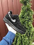 Зимові чоловічі кросівки Nike Air Force,чорні,на хутрі, фото 3
