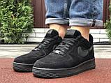 Зимові чоловічі кросівки Nike Air Force,чорні,на хутрі, фото 4