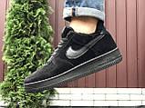 Зимові чоловічі кросівки Nike Air Force,чорні,на хутрі, фото 6