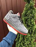 Зимние мужские кроссовки Nike Air Force,серые,на меху, фото 2