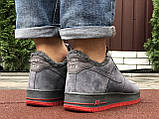 Зимние мужские кроссовки Nike Air Force,серые,на меху, фото 5