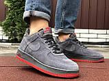 Зимние мужские кроссовки Nike Air Force,серые,на меху, фото 6