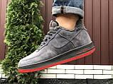Зимние мужские кроссовки Nike Air Force,серые,на меху, фото 7