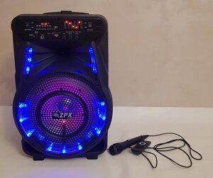 Колонка на аккумуляторе с микрофоном ZPX ZX 7773 150W USB Bluetooth FM