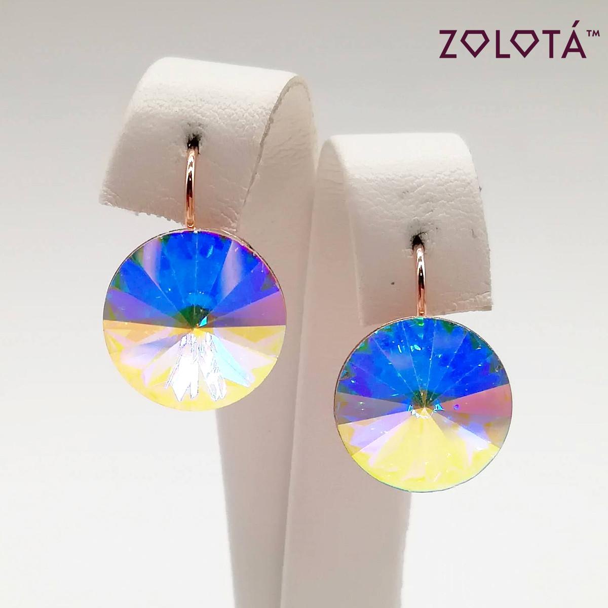 "Серьги Zolota, размер 32х12  мм, кристаллы Swarovski цвета ""Хамелеон"", вес 4 г, позолота PO, ЗЛ01035 (1)"