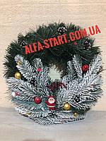 Рождественский (новогодний)венок с Дедом Морозом украшение на дверь 35см, фото 1
