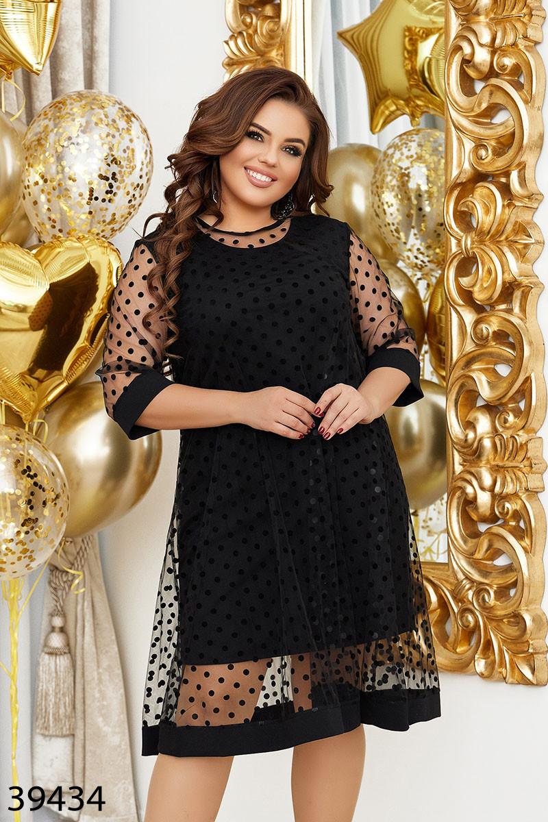 Нарядное женское платье большого размера  Размеры: 48-50 52-54 56-58