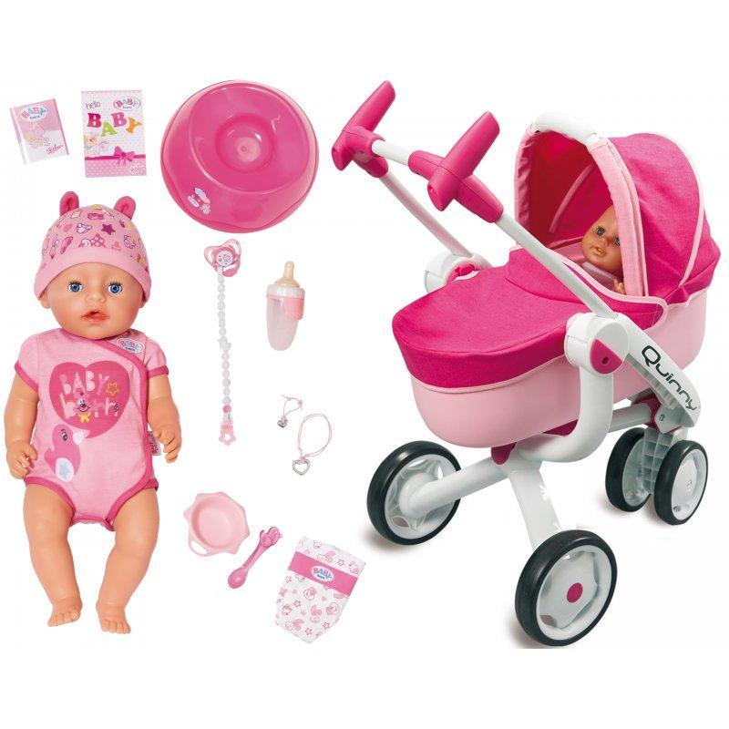 Игровой набор Коляска трансформер 5 в 1+ Интерактивный пупс Baby Born 824368-550389