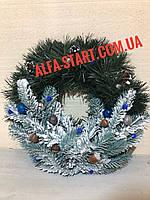 Новогоднее украшение на дверь Венок с инеем 35см