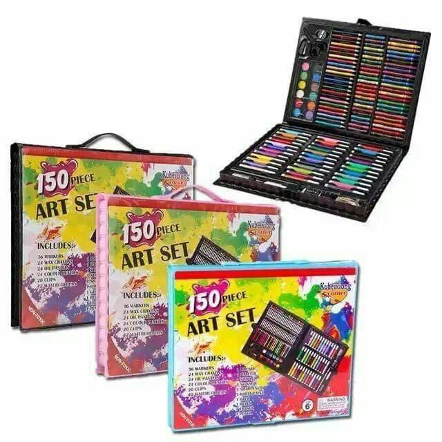 Детский Набор для рисования и творчества Art set 150 предметов в кейсе ( Розовый, Черный )