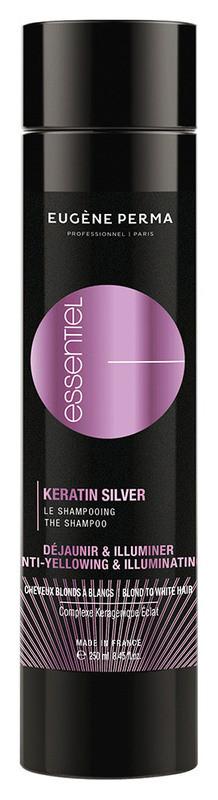 Шампунь з кератином для сивого, освітлених і мелірованого волосся Eugene Perma Essentiel Keratin Silver Shampoo