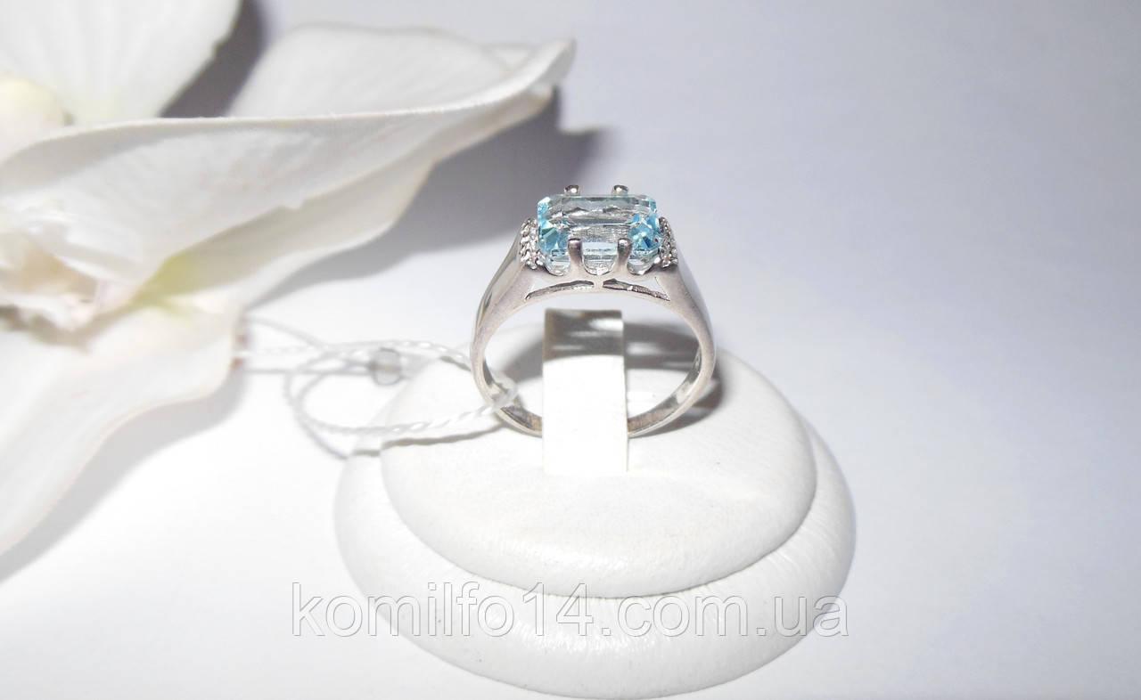Серебряное кольцо с натуральным  топазом (унисекс)