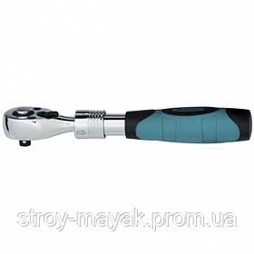 """Ключ телескопический трещоточний 1/4 """", 150-200 мм, CrV, хромированный, двухкомпонентная рукоятка, GROSS"""