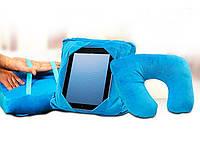 Подушка для путешествий 3в1 GoGo Pillow № B48 размер 28х28см, микрофибра, голубая, подушка для планшета