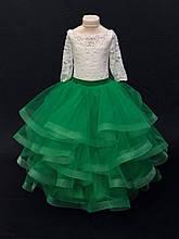 Платье Весны Длинное нарядное пышное зеленое платье на 4-5, 6-7 лет Виктория