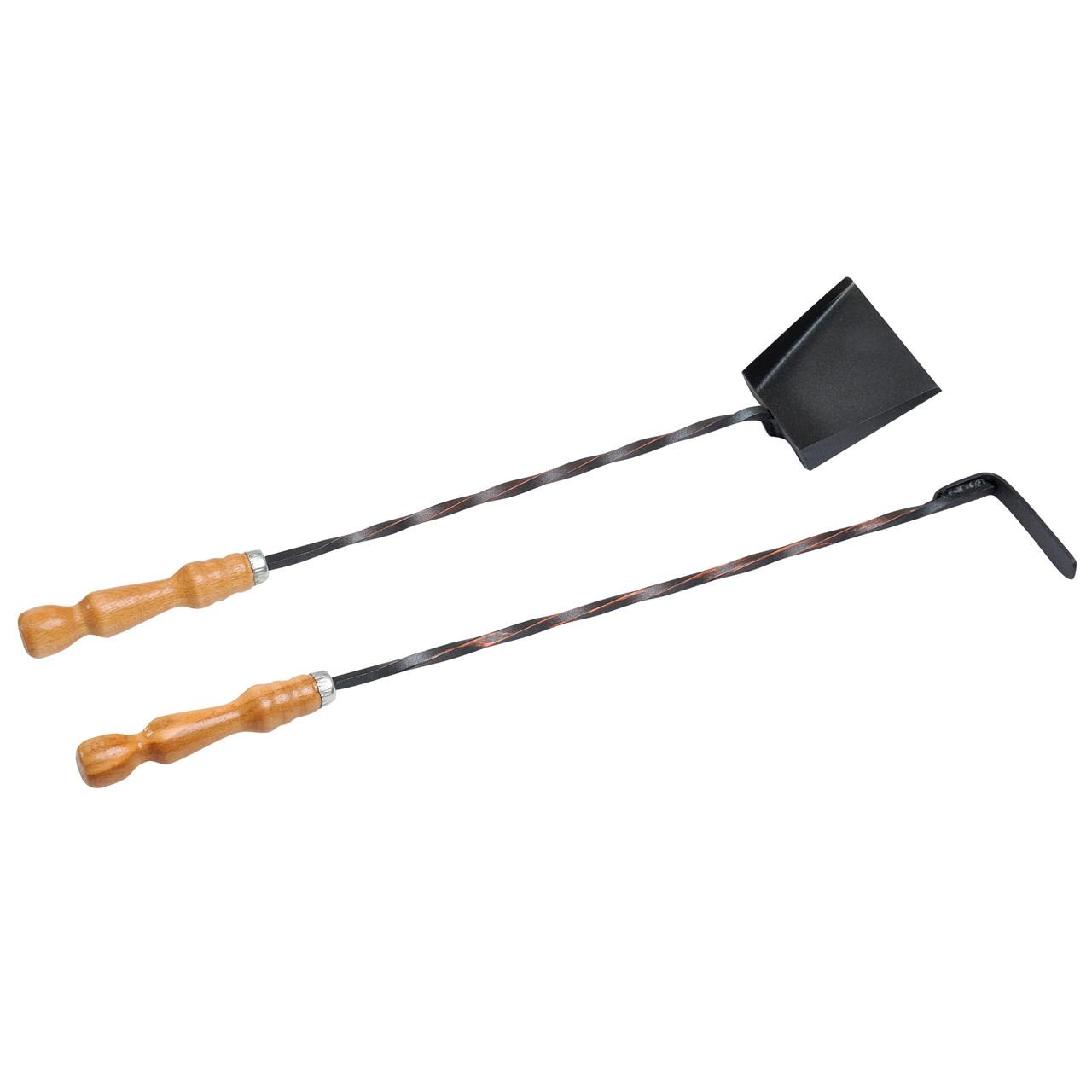 Совок и кочерга с деревянной ручкой Витой прут для камина/ мангала/ печи