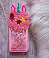 Чехол для Huawei Honor 8a Единорог розовый с блестками