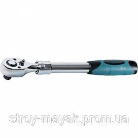"""Ключ телескопический трещоточний 1/2 """", 305-445 мм, CrV, хромированный, двухкомпонентная рукоятка, GROSS"""