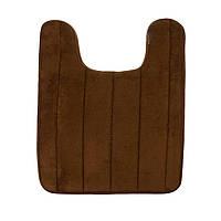Мягкий коврик для туалета с вырезом под унитаз Коричневый