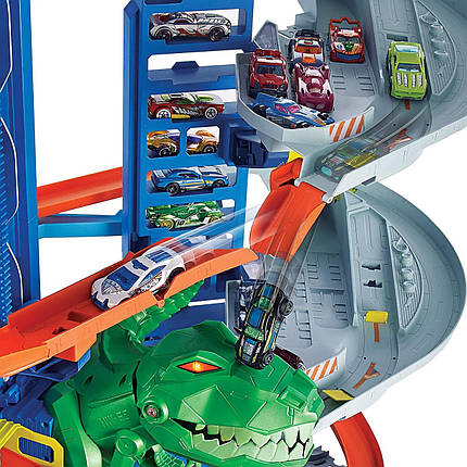 Легендарний гараж Хот Вілс з динозавром Hot Wheels City Robo T-Rex Ultimate Garage, фото 2