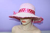 Женская шляпа летняя плетеная украшена лентой р. 54