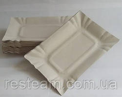 Тарелка бумажная прямоуг. 15,5*21,5см белая 50шт/уп