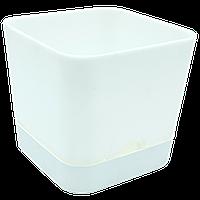 Горшок для цветов квадратный Begonya 1,5 л белый, фото 1