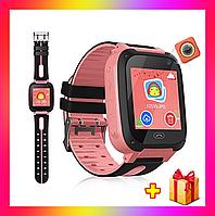 Детские смарт часы телефон Smart Baby watch S4 с GPS розовый цвет. Умные часы + 2 ПОДАРКА