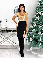 Женское красивое платье с 42 по 48 рр креп дайвинг + пайетка, фото 1