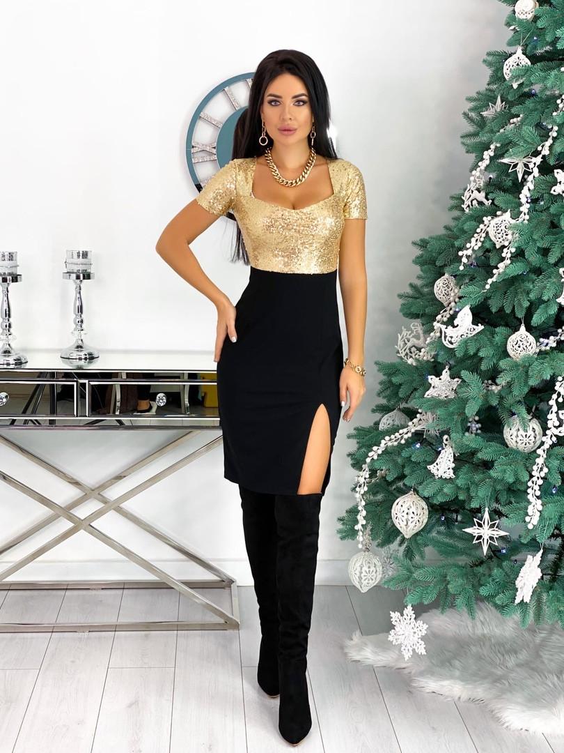Женское красивое платье с 42 по 48 рр креп дайвинг + пайетка