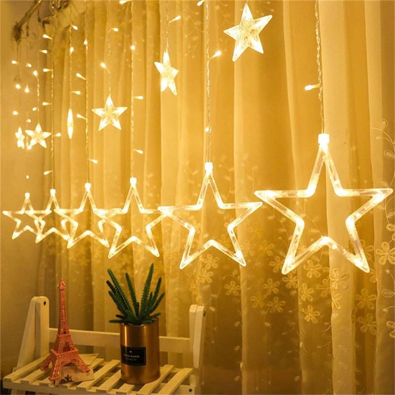 Гирлянды - штора со звёздами и пультом управления на новый год